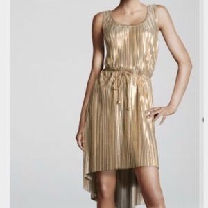 H&M gold pleated hi low belted dress size medium